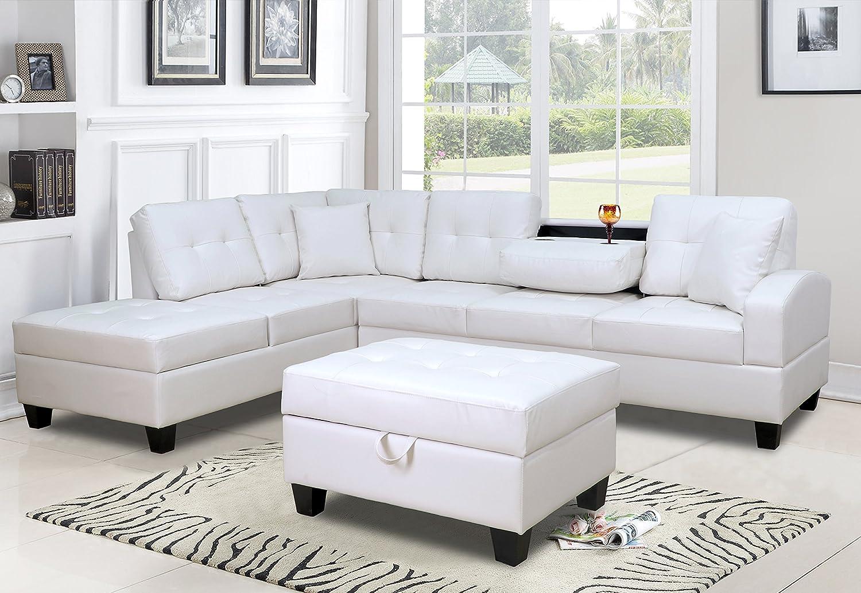 Amazoncom Gtu Furniture Pu Leather Reversible Sectional Sofa And