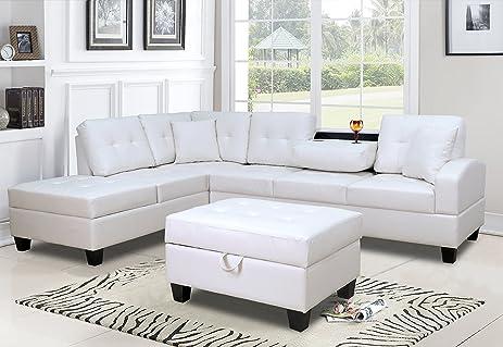 Amazon.com: GTU Furniture Pu Leather Living Room Sectional Sofa ...