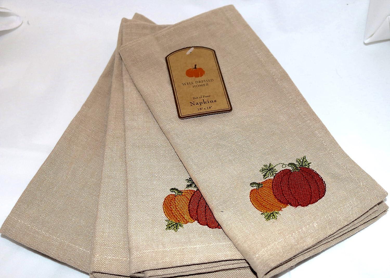 Well Dressed Home Fall Pumpkin Napkins Set of 4 Autumn Thanksgiving Natural Tan   B01M0961MH