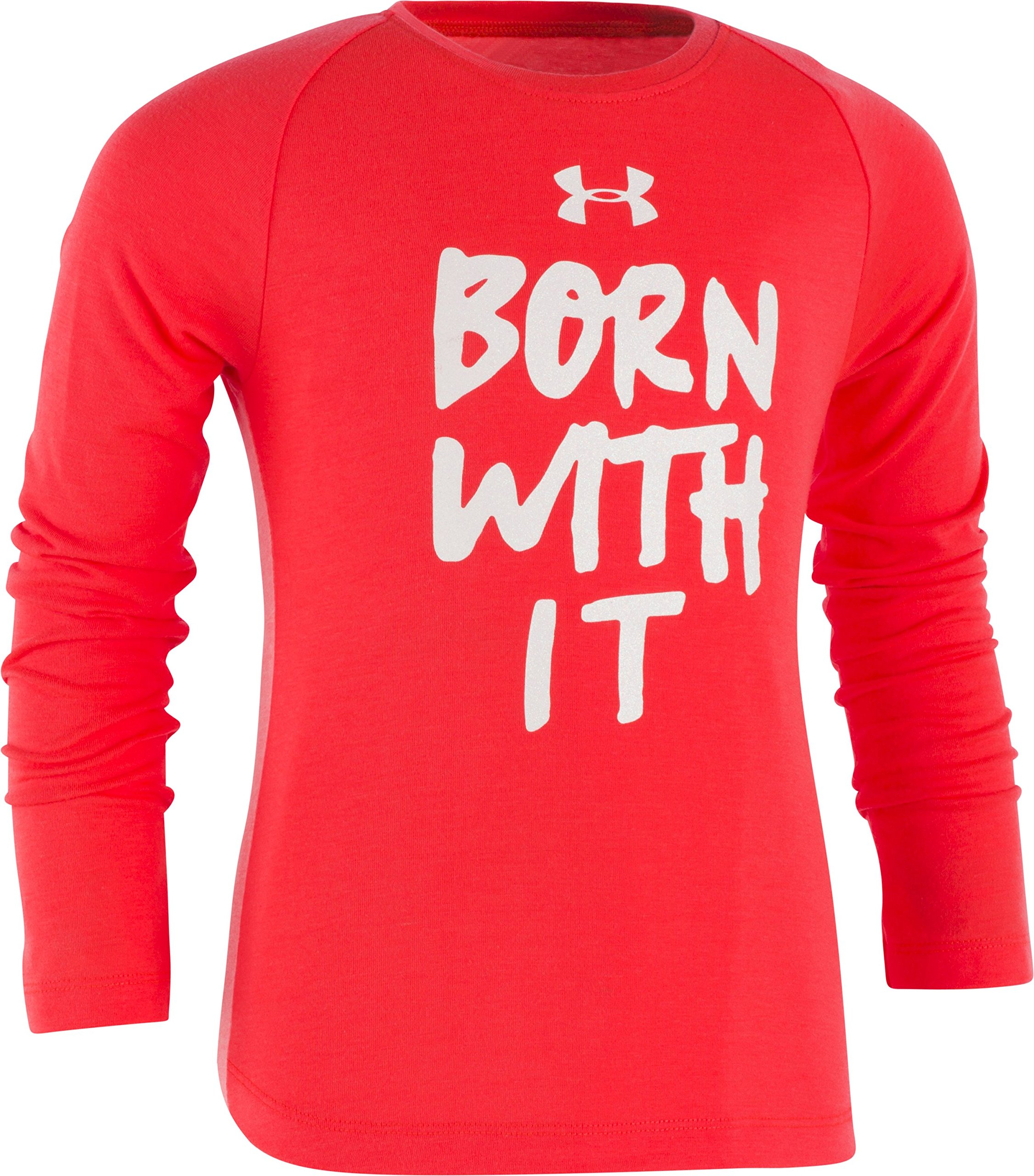 Under Armour Girls' Little Long Sleeve Graphic Tee, Marathon Red, 6