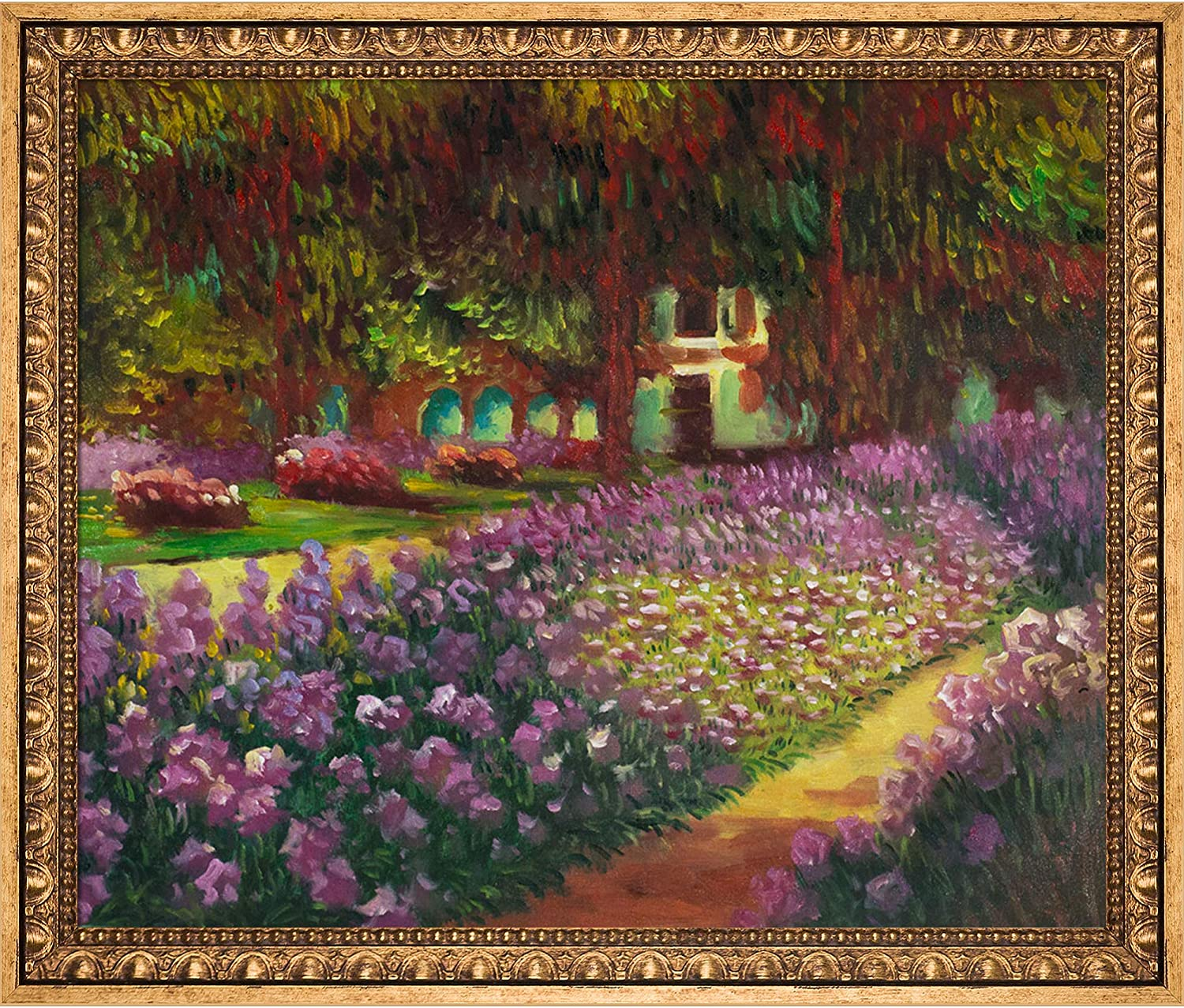 "La Pastiche OverstockArt Artist's Garden at Giverny by Claude Monet with Versailles Gold Frame Hand Painted Oil Reproduction, 27.5"" x 23.5"", Multi-Color"