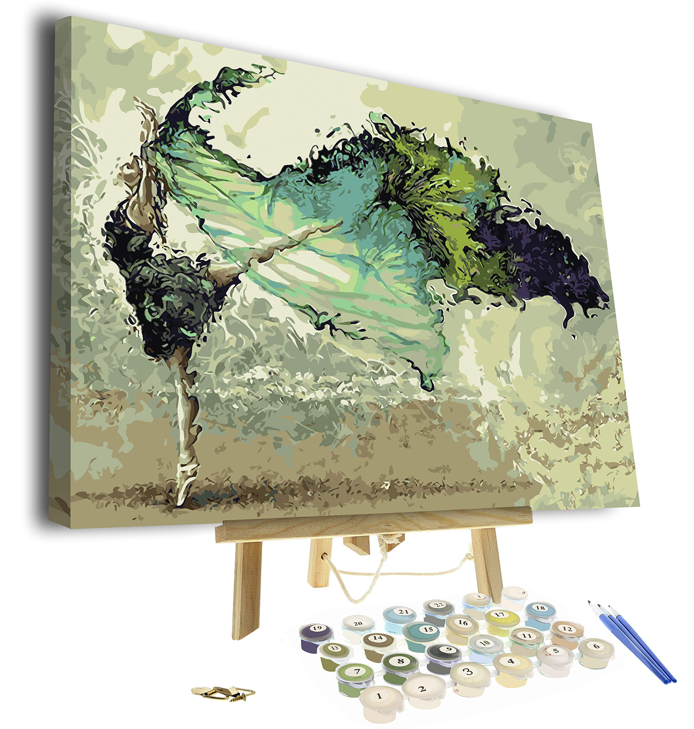 Paint by Numbers for Adults - Framed Canvas and Wooden Easel Stand - DIY Full Set of Assorted Color Oil Painting Kit and Brush Accessories - Soul Dancer 12''x16'' Replica (Soul Dancer) by Pixel Splash