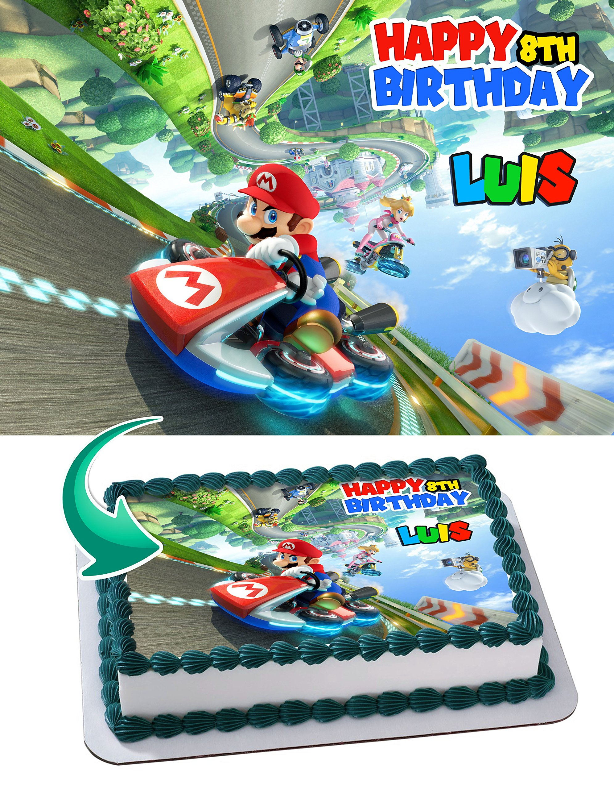 Mario Kart 8 Deluxe Edible Cake Image Personalized Icing Sugar Paper A4 Sheet Edible Frosting Photo Cake 1/4 ~ Best Quality Edible Image for cake
