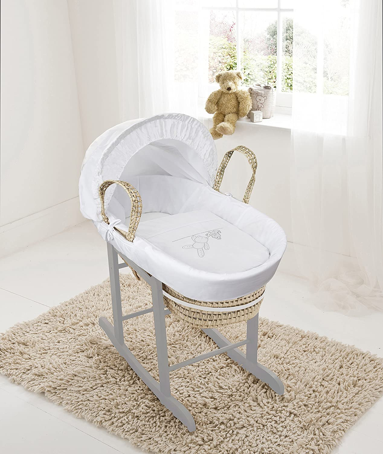 White Teddy Wash Day On Palm Moses Basket & Deluxe Dove Grey Rocking Stand Elegant Baby
