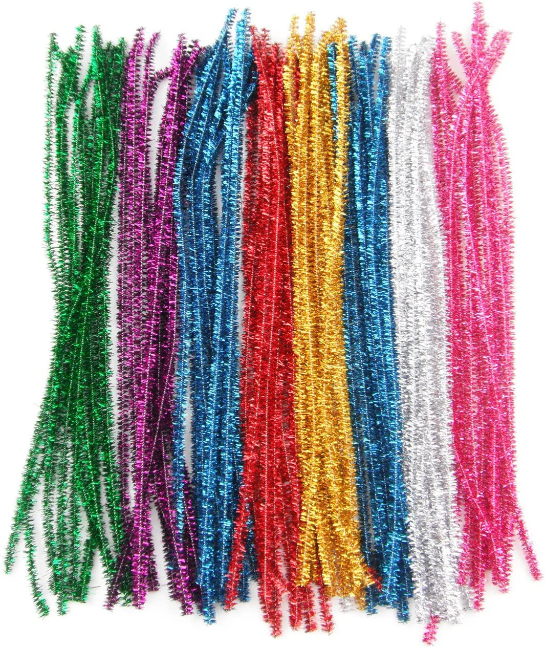 300Pcs Glitter Sparkle Pipe Cleaners Tinsel Chenille Stems,10 Colors Metallic Pipe Cleaner for DIY Crafts,Arts,Wedding,Home,Party,Holiday Decoration 6 mm x 12 Inch