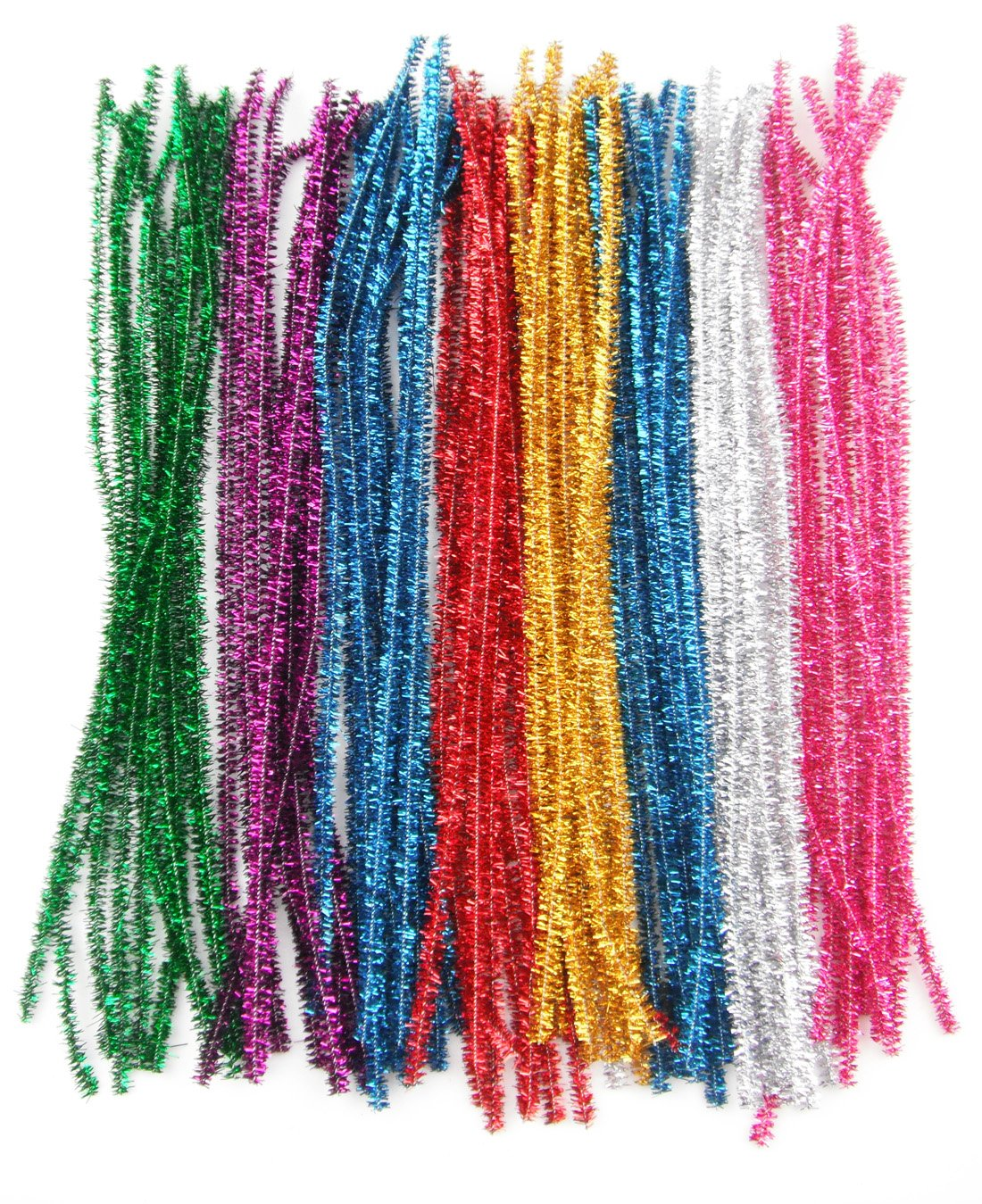 ALL in ONE 100pcs Mixed Color Glitter Sparkle Pipe Cleaners Tinsel Stems 6mm 12-inch