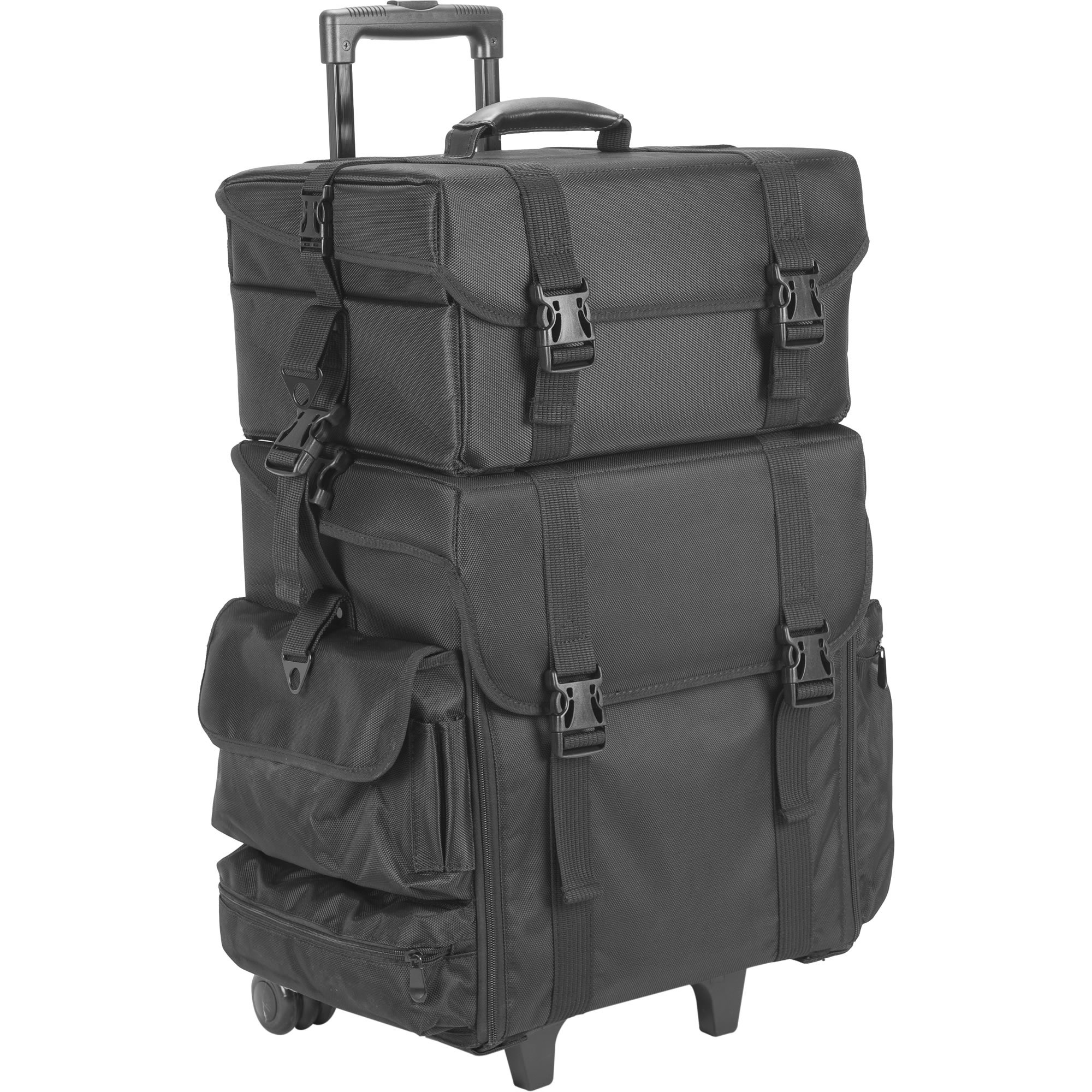 JustCase Hiker T5273 2-in-1 Soft Sided Professional Rolling Trolley Makeup Artist Cosmetic Case, Black Nylon