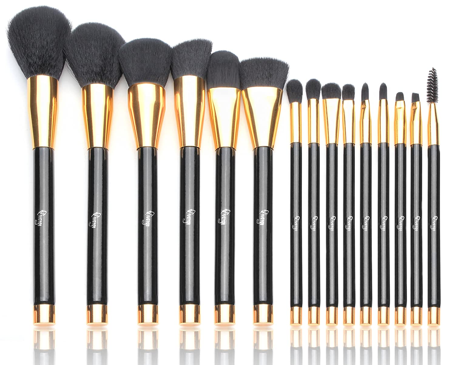Qivange Makeup Brushes 15 PCS Liquid Foundation Powder Blending Brush Set Black With Gold