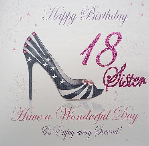 White Cotton Cards WBA18-S Feliz cumpleaños 18 Hermana Have ...