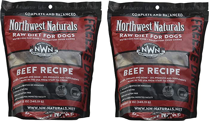 Northwest Naturals Freeze-Dried Raw Nugget Dog Food, 2 12-Ounce Bags, Beef Recipe, Made in The USA