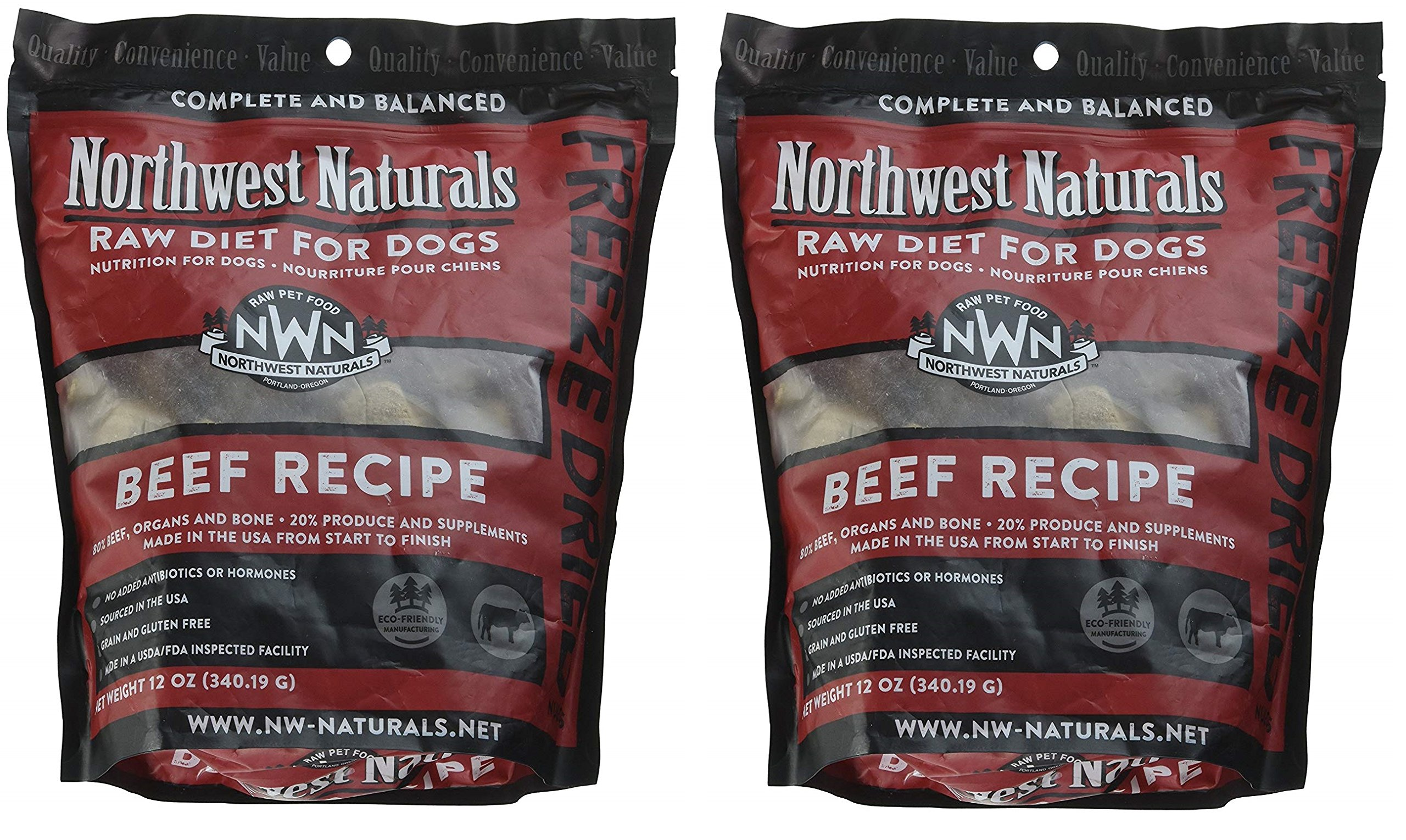 Northwest Naturals Freeze-Dried Raw Nugget Dog Food, 2 12-Ounce Bags, Beef Recipe, Made in The USA by Northwest Naturals