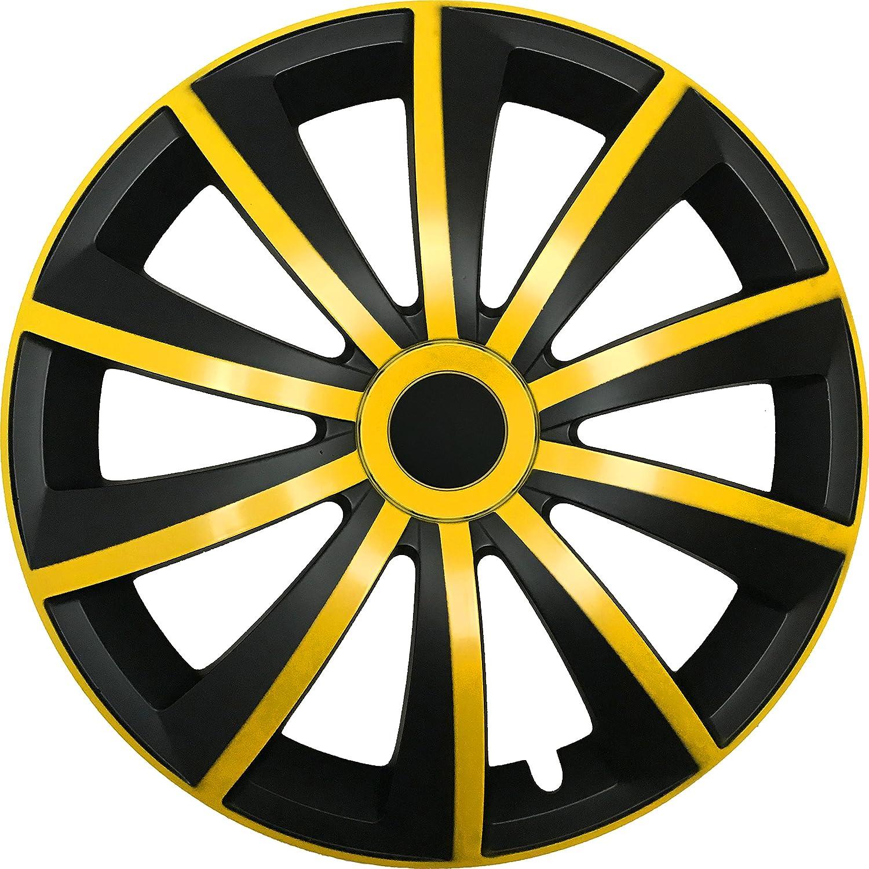 Radzierblenden MIKA Schwarz//Gr/ün passend f/ür fast alle Fahrzeugtypen universal Gr/ö/ße w/ählbar 15 Zoll Radkappen