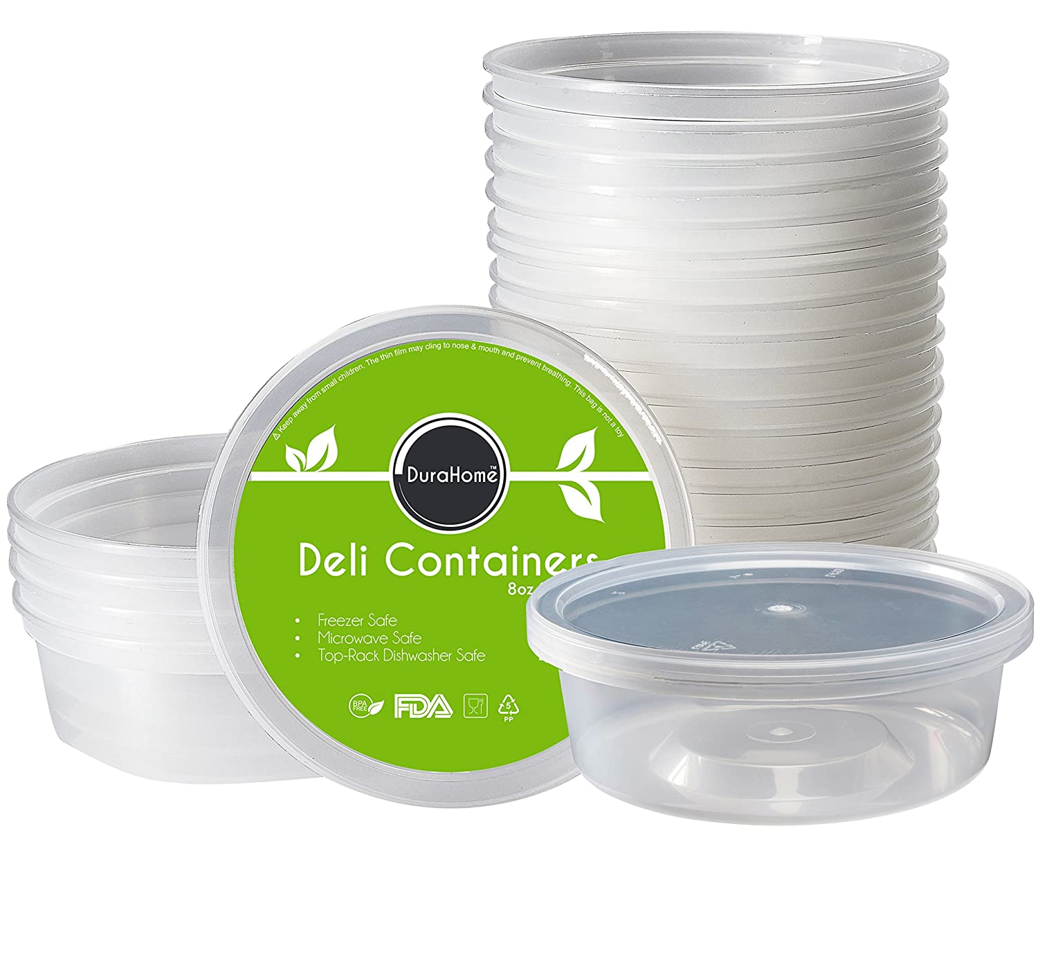 DuraHome - Deli Containers with Lids 8 oz. Leakproof - 40 Pack Plastic Microwaveable Clear Food Storage Container Premium Heavy-Duty Quality, Freezer & Dishwasher Safe