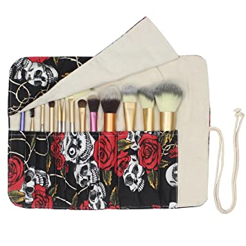 7859fadec7 Amazon.com   12 Pockets Makeup Brushes Rolling Case Pouch Holder Cosmetic  Bag Organizer Case with Belt Strap