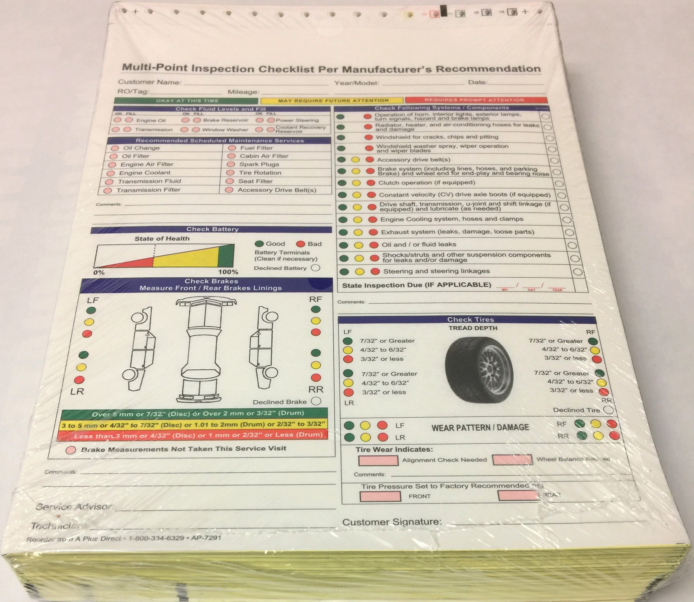 Multi-Point Inspection Forms - (250/pack) 7291 (W15) by A Plus Dealer Supplies (W15) (Image #3)