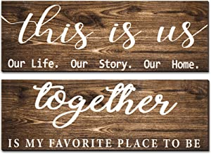 2 Pieces This is Us Our Life Our Story Rustic Print Wood Signs Together Rustic Wooden Wall Art Signs Farmhouse Entryway Signs for Bedroom Living Room Office Decor, 4.7 x 13.8 Inch (Brown)