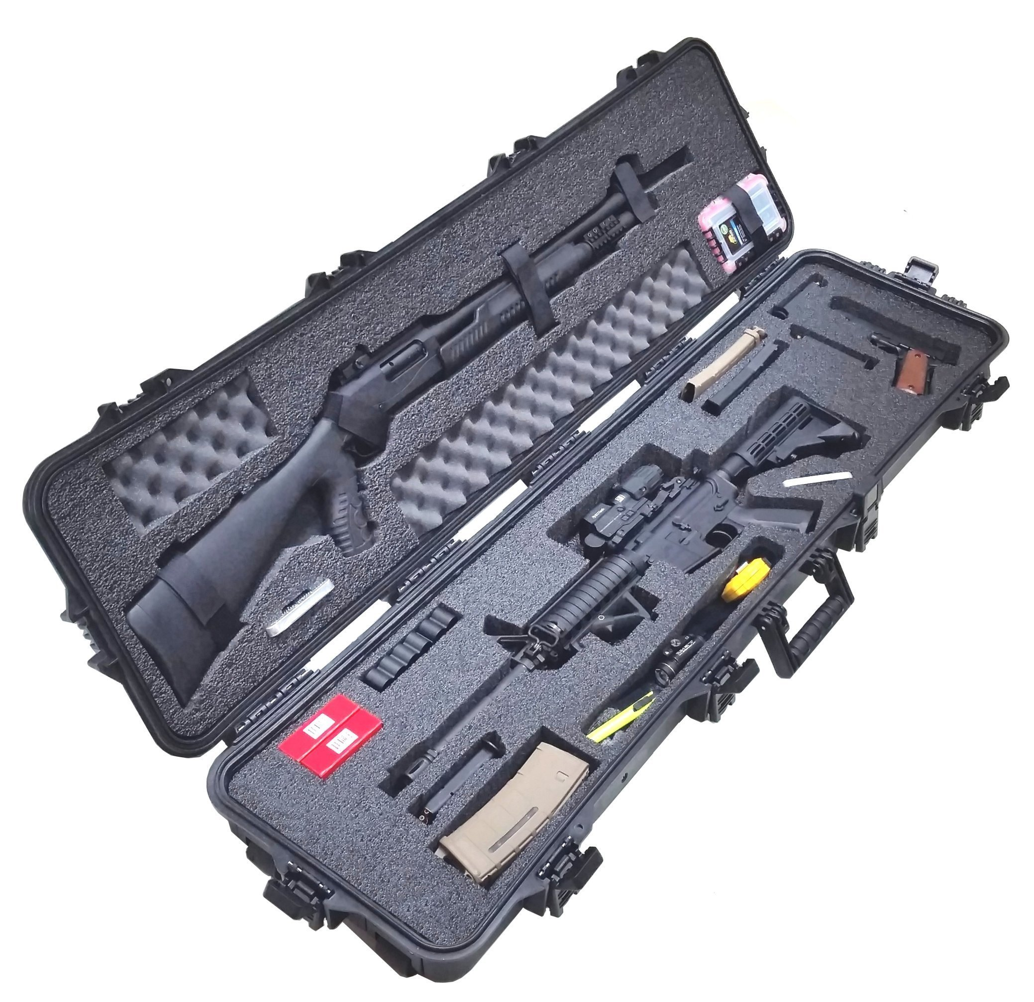 Case Club Pre-Made Waterproof 3 Gun Competition Case with Silica Gel & Accessory Box by Case Club