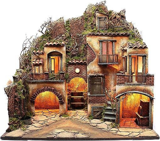 Borgo presepe Napoletano con Fontana 82X80X60 cm: Amazon.it: Casa
