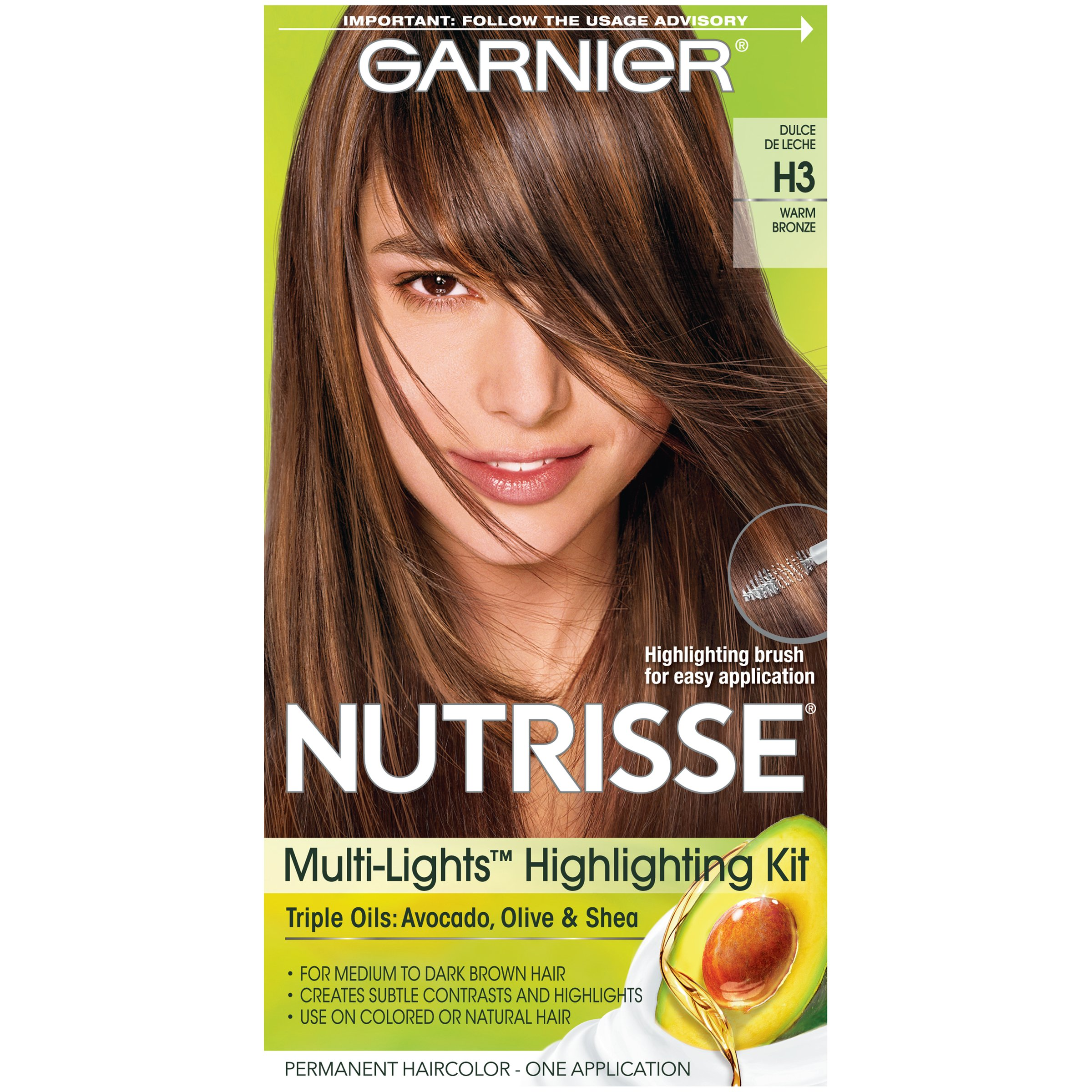 Garnier Nutrisse Nourishing Hair Color Creme, H3 Warm Bronze (Packaging May Vary)