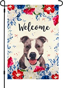 Garden Flag with Dog Pitbull, 12 x 18 Inch, Welcome Spring, Summer, Double Sided Burlap, Red White Blue Flowers, Gray American Pit Bull Terrier, Staffordshire Bull Terrier, All Year Round Yard Décor