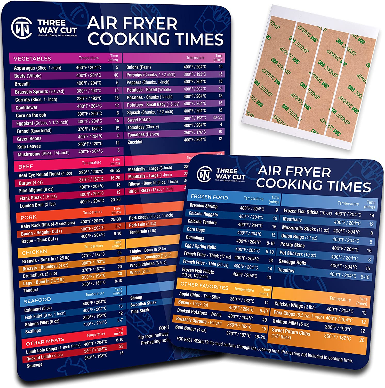 Air Fryer Magnetic Cheat Sheet Air - Air Fryer Accessories Cooking Times Chart 10.5x6.5 & 5X5 Magnet for Easy Accurate Frying, Quick Cook Guide Recipe Reference Over 90 Healthy Meals