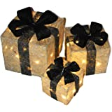 Set of 3 Decorative Pre-Lit LED Christmas Gift Boxes Festive Xmas Decoration (Silver with Black Bow)