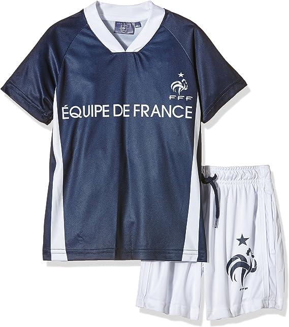 FFF EP1010 - Conjunto Deportivo de 2 Piezas de la selección de fútbol de Francia, Compuesto por pantalón Corto y Camiseta de Manga Corta para niño, Traje, Niño, Color Azul, tamaño 4