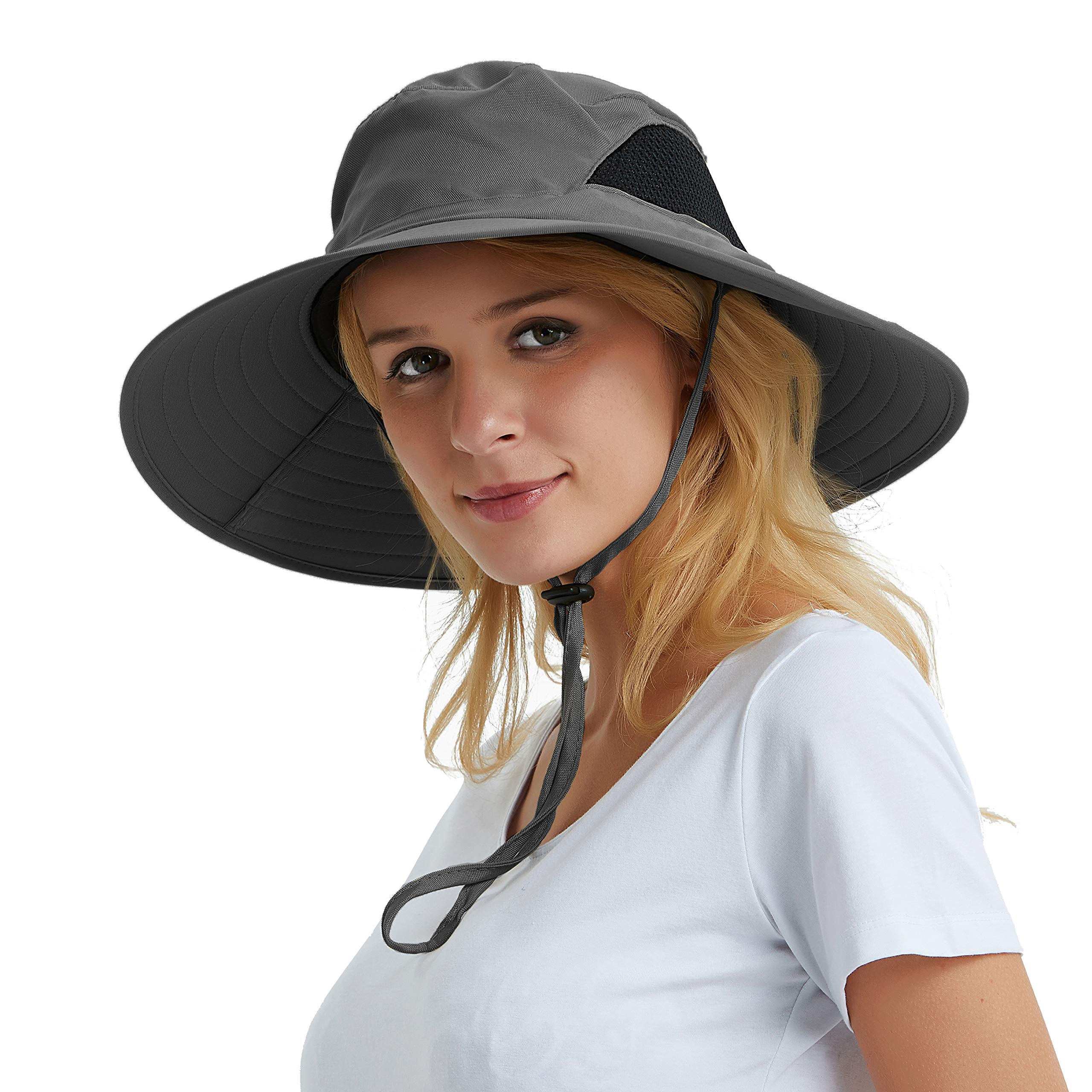 fd42b16a21e986 Women's Wide Brim Sun Hat, Outdoor Sun Protection Visor Floppy Hat Packable  Boonie Hat for