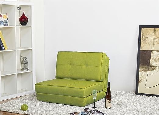 Artdeco Sillón Cama Funda de Tela Verde pequeño