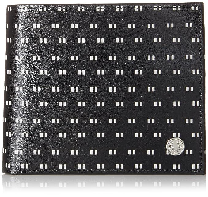 Inclinado negro Imprimir Billetero y cartera de la moneda de Fred Perry: Amazon.es: Ropa y accesorios