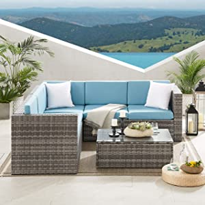Volans 4 Pieces Patio Furniture Sets, Patio Garden Backyard Rattan Conversation Set, Outdoor PE Wicker Sectional Sofa Couch with 2 Pillows and Glass Table, Blue