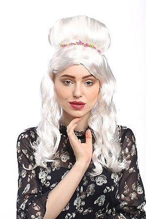 WIG ME UP ® - 31797-P68 Peluca señoras Carnaval barroco rococó blanco rubio,