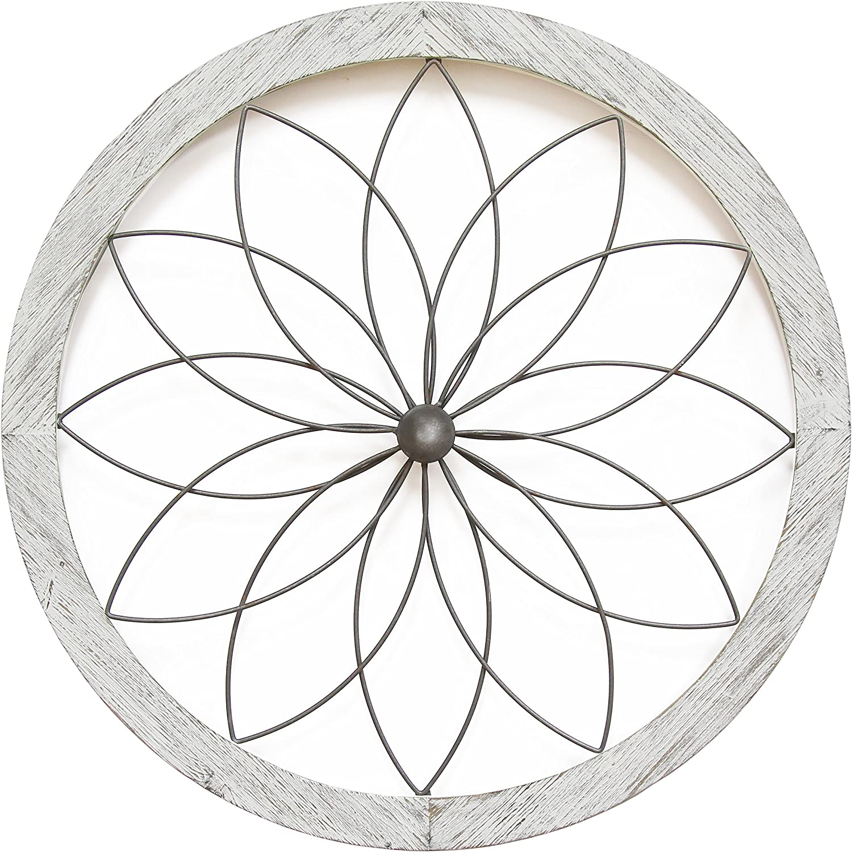 Amazon Com Stratton Home Decor Flower Metal And Wood Art Deco Wall Decor 25 75 W X 1 00 D X 25 75 H White Home Kitchen