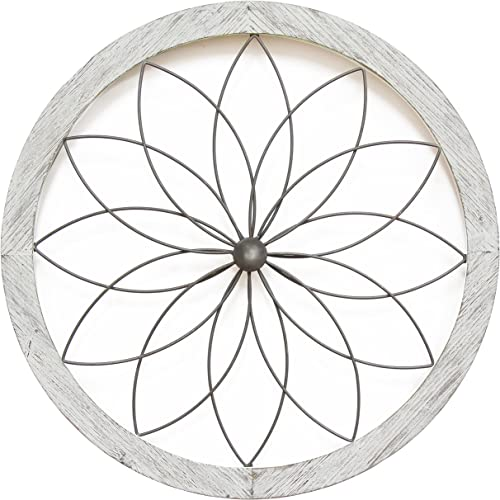 Stratton Home Decor Flower Metal and Wood Art Deco Wall Decor, 25.75 W X 1.00 D X 25.75 H, White