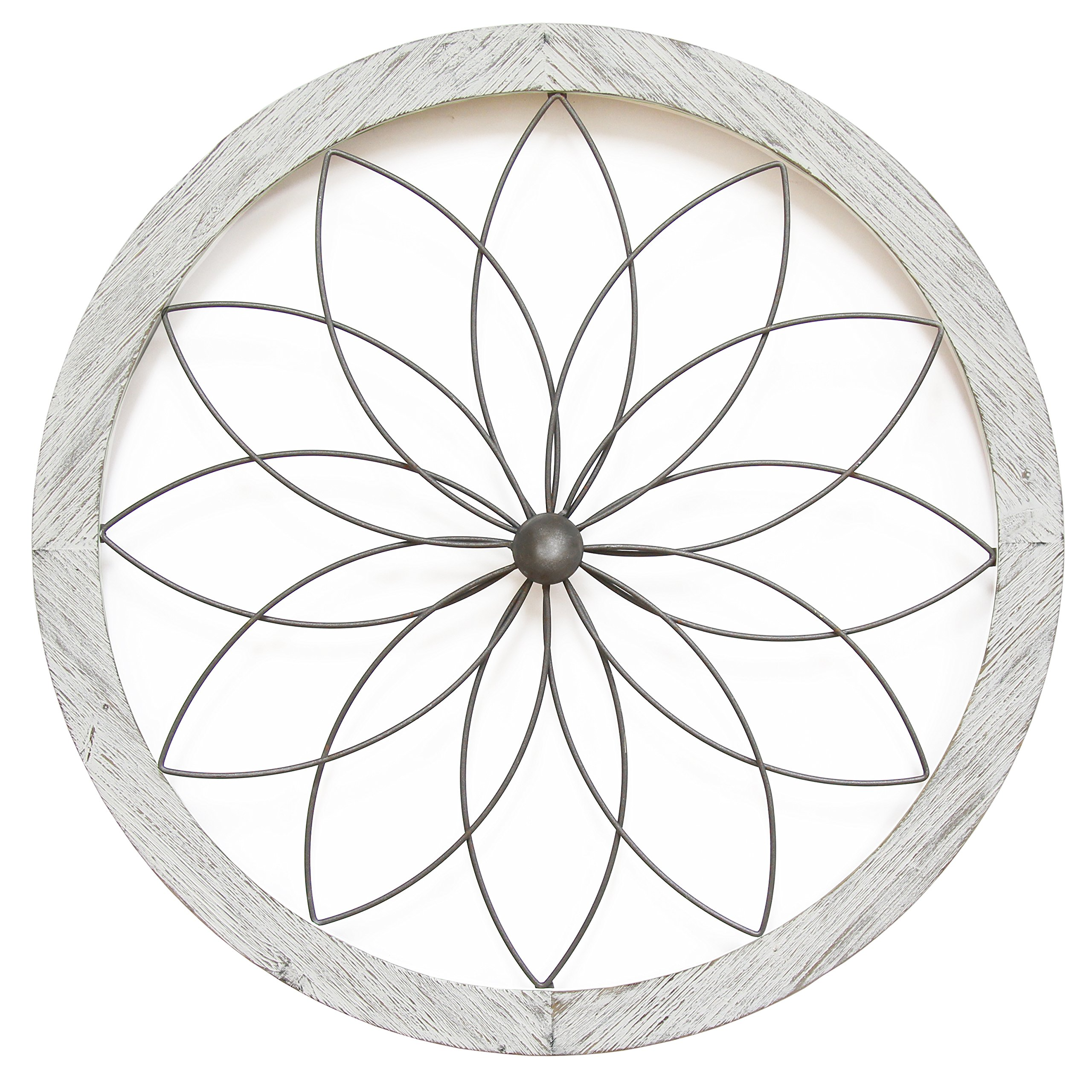 Stratton Home Decor Flower Metal and Wood Art Deco Wall Decor, White