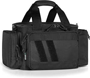 Savior Equipment Specialist Series Tactical Triple Pistol Shooting Range Duffle Bag Gun Carrying Case, Rigid Compartment Frame, Lockable Zippers, 3 Handgun Sleeves & Shoulder Strap Included