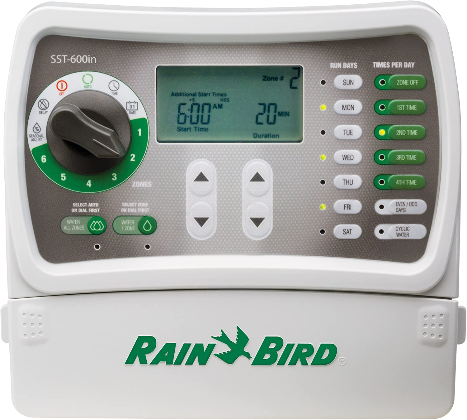 Amazon Com Rain Bird Sst600in Simple To Set Indoor Sprinkler Irrigation System Timer Controller 6 Zone Station This New Improved Model Replaces Sst600i Garden Outdoor