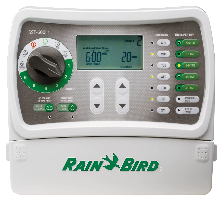Rain Bird SST600IN Simple-to-Set Indoor Sprinkler Irrigation System Timer Controller, 6-Zone Station New Improved Model Replaces, SST600I