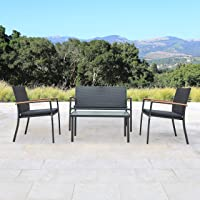 Overstock.com deals on Corvus Lecco 4-piece Black Wicker Outdoor Chat Set