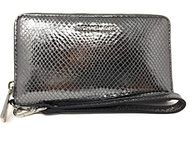 efb2019cbe44 Image Unavailable. Image not available for. Color: Michael Kors Jet Set  Metallic Snake-Embossed Leather Smartphone Light Pewter ...