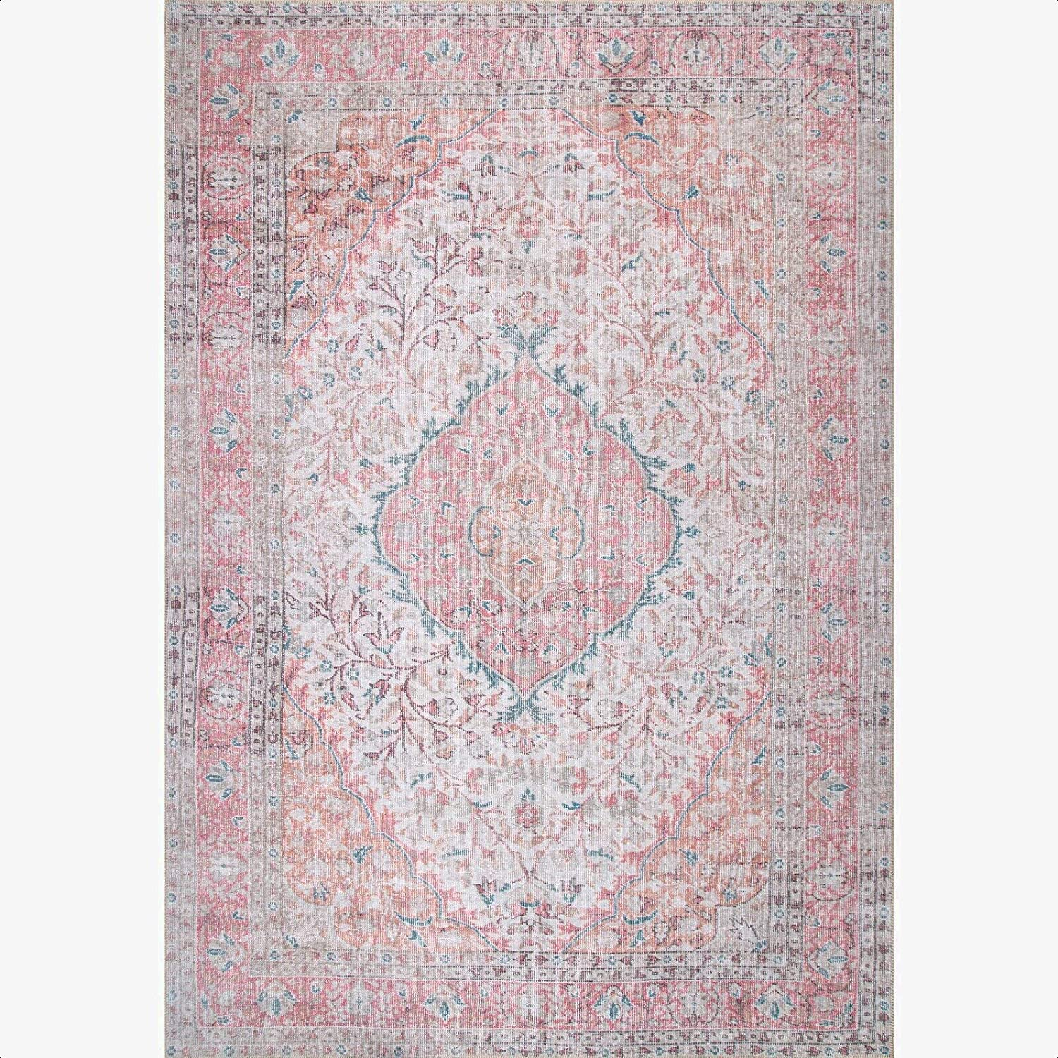 Waldrop Pink Area Rug Material Polyester Country Of Origin Turkey Kitchen Dining