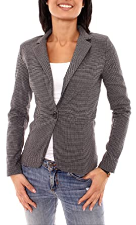 Pepita Muster easy fashion damen sweat jerseyblazer pepita muster amazon de