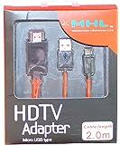 テレビでスマホを見られます MHL HDMI変換アダプター ケーブル 解像度 1080p 長さ 2m 充電ケーブル付