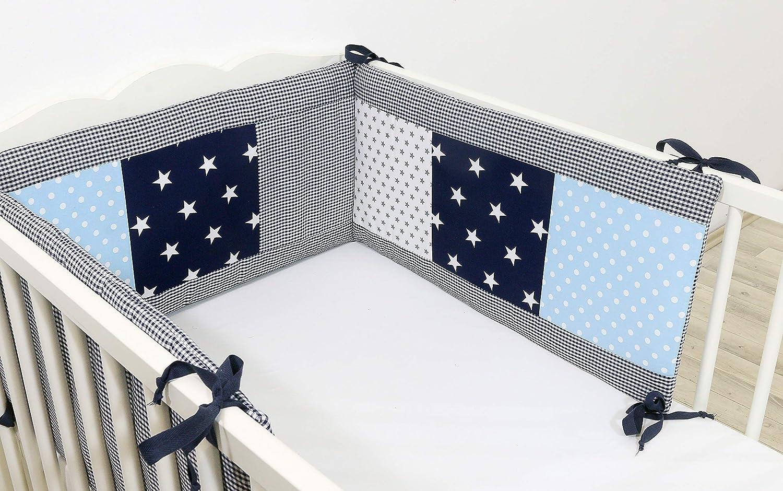 ULLENBOOM /® Nestchen Blau Hellblau Grau 210x30 cm Baby Bettnestchen, Bettumrandung f/ür 140x70 cm Babybett - Kopfbereich, Motiv: Punkte, Sterne