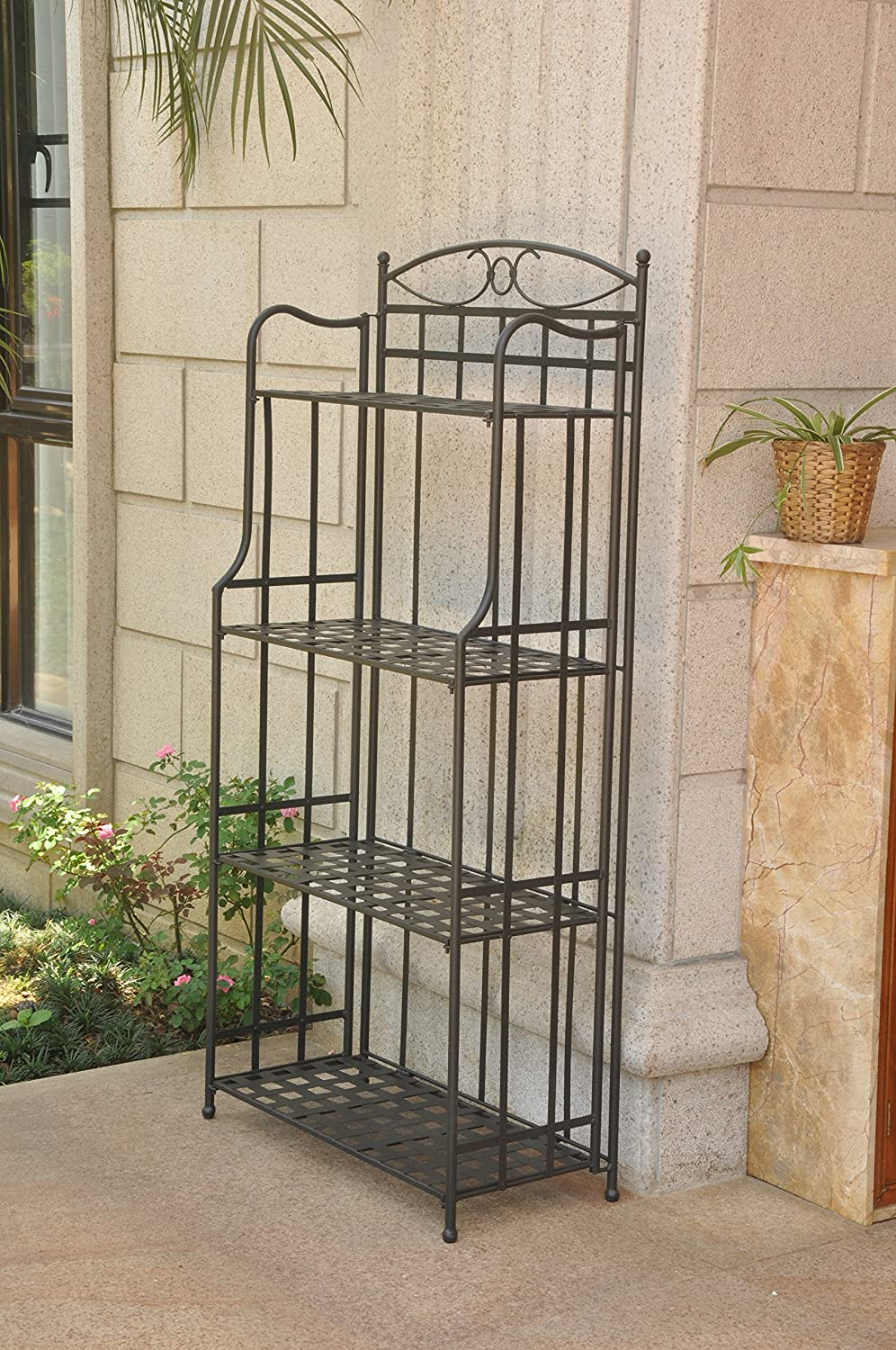 International Caravan Folding Bakers Rack in Antique Black,