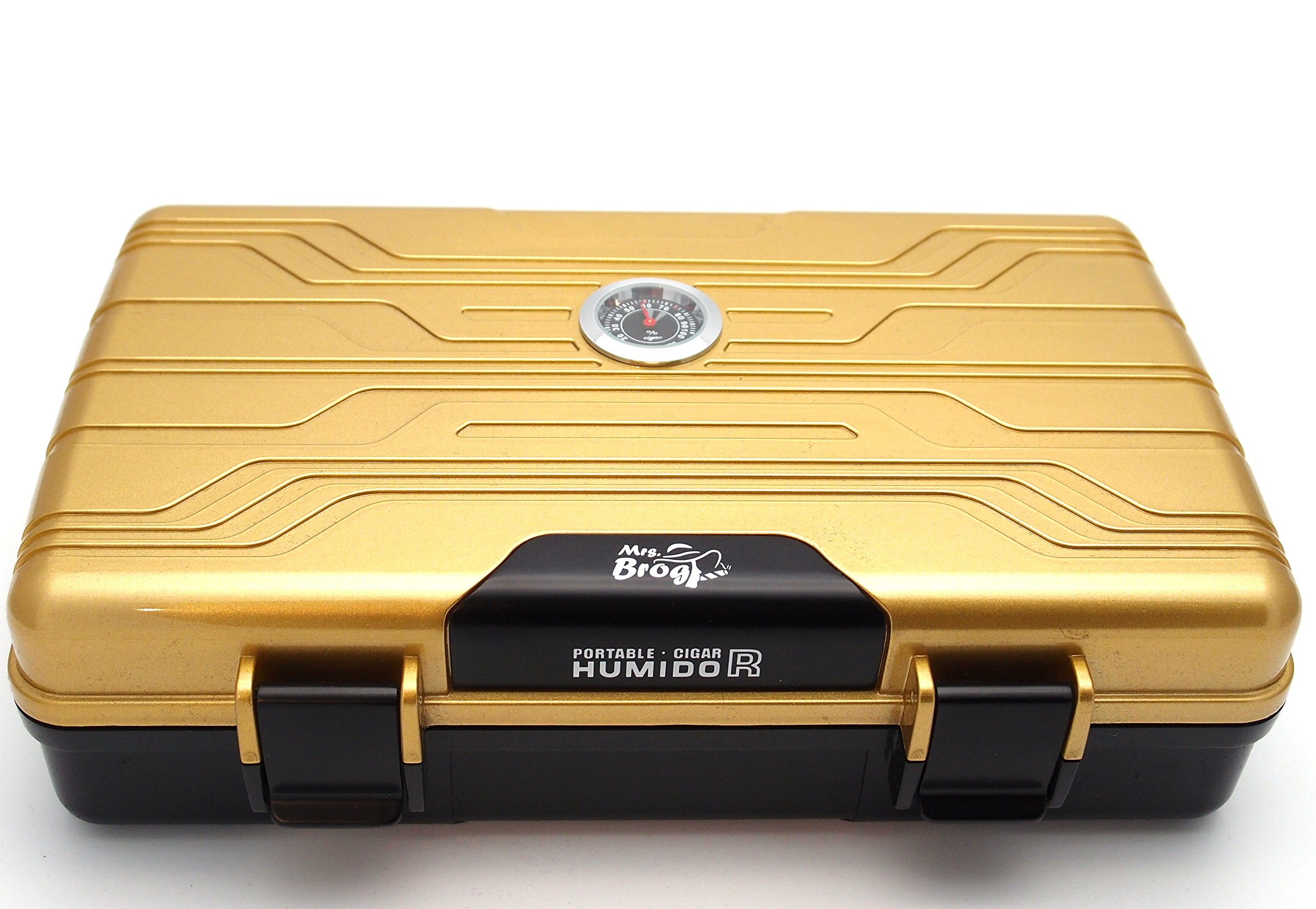 Waterproof Cigar Travel Humidor for 10 Cigars - Integrated Hygrometer and Humidifier Included - 2 Trays