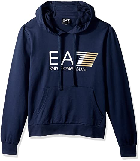 4d25891556311 Emporio Armani EA7 Big Logo Hoodie in Navy Blue (Large)  Amazon.co.uk   Clothing