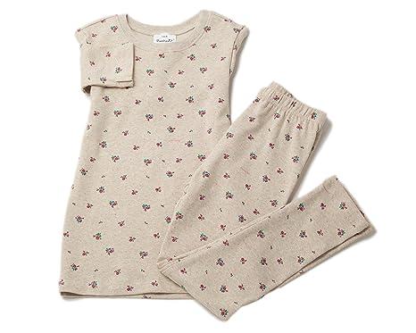 2Ya2YaO Korean Cotton Floral Girl 2 Piece Sleepwear Pajamas Set 5-6yrs Beige a605308eb
