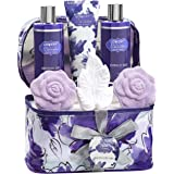 Bath and Body Gift Set For Women - Lavender and Jasmine Home Spa Set With Double Sized Bath Bombs, Reusable Travel Cosmetics Bag and More