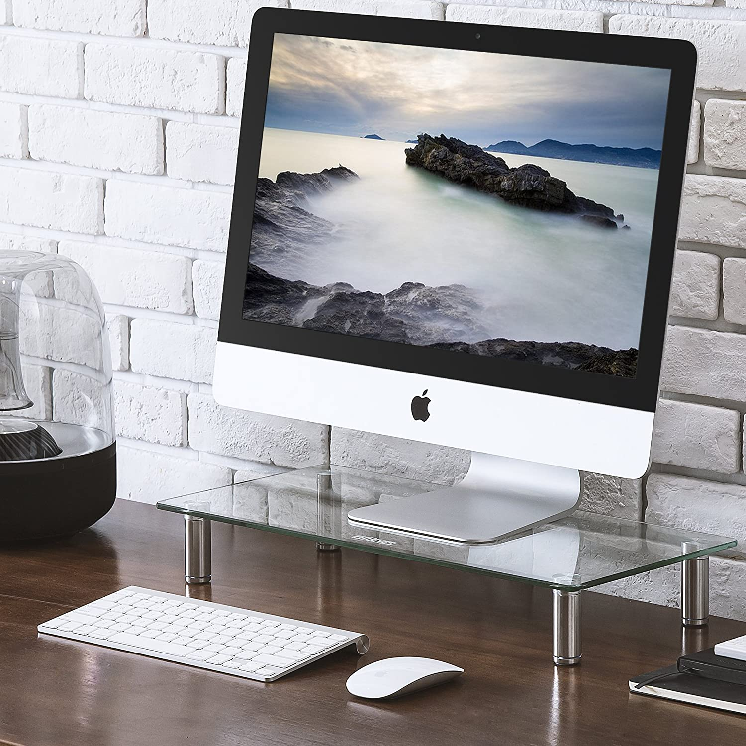 FITUEYES Clear Computer Monitor Riser Save Space Desktop Stand for Xbox One//Component//Flat Screen TV,DT103801GC
